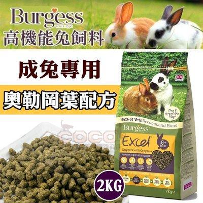 *COCO*伯爵Burgess高機能兔飼料-成兔(奧勒岡葉)2kg添加益生菌/提摩西草/自然高纖維,超取限購兩包