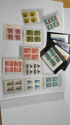 50-60年代台灣全套4方連新票9種計40套,含特43,25,73,71,142,76紀129, 110,等全品(內詳)