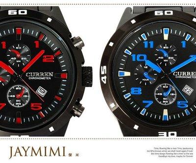 【JAYMIMI傑米】CURREN 潮流顏色刻度三眼造型手腕錶 日期顯示軍錶 特價390 兩支免運費 送禮佳