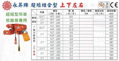 昇牌 超短結合型 上下左右 超短型電動吊車 超短型鍊條吊車 超短型鏈條吊車 YFT-050 荷重:0.5T