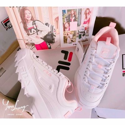 【Luxury】現貨 Fila Disruptor 2 白粉 鋸齒 增高 厚底休閒 1980復古鞋 DARA著 草莓牛奶