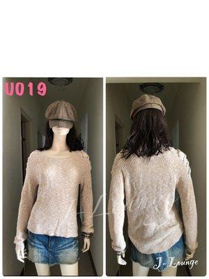 U019 全新歐美Absolutely米麻花色粗織露肩針織長衫毛衣慵懶隨性自然美式休閒sweater J-Lounge