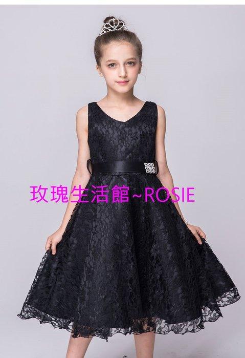 【玫瑰生活館】~ 黑色鋼琴禮服裙~ 公主禮服,花童禮服, 鋼琴禮服, 大童禮服裙7色