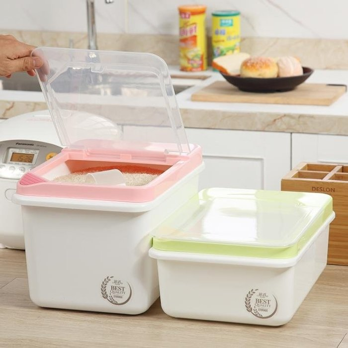 儲米桶裝米箱塑料防蟲防潮面粉桶廚房20斤米缸米罐家用10kg米盒子   HTCC