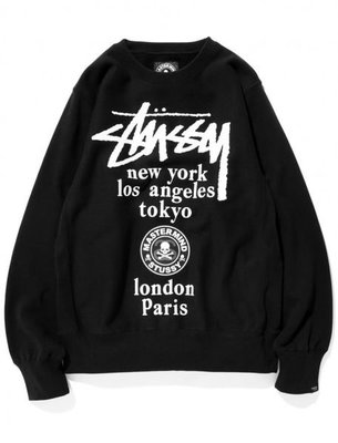 【HOMIEZ】Stussy x mastermind JAPAN WT Crew 大學 T 長TEE 黑 L
