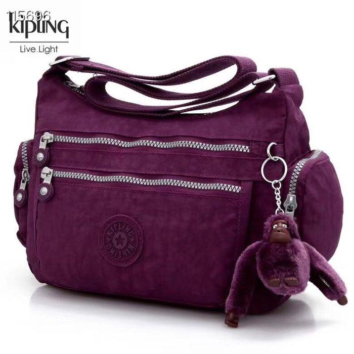Kipling 猴子包  K132127 葡萄紫 多夾層拉鍊款輕量斜背包肩背包 大容量 旅遊 防水 限時優惠