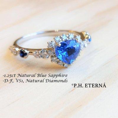 全新18K白金1.25卡心形藍寶石配31份真鑽石戒指 | HK13號