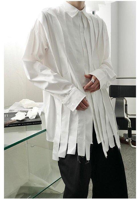 FINDSENSE X  男士 長袖寬松 休閑 毛邊設計純色冷淡風襯衫