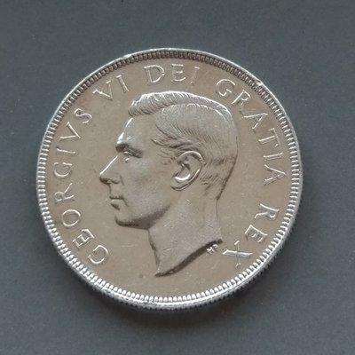 加拿大 CANADA 1951  喬治六世  1元  銀幣(80%)   280-414