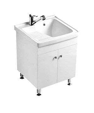《101衛浴精品》100%全防水 一體成型陶瓷洗衣槽浴櫃組 62CM【免運】