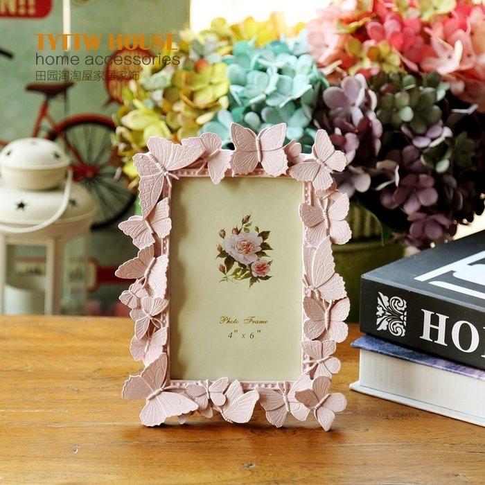 粉色蝴蝶飛揚樹脂藝術相框擺件生日禮物裝飾