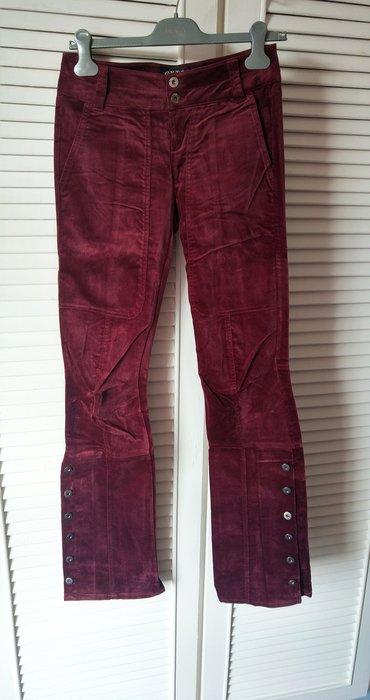 義大利名品 EXTE全新吊牌還在 酒紅色絲絨釘釦褲管小喇叭褲