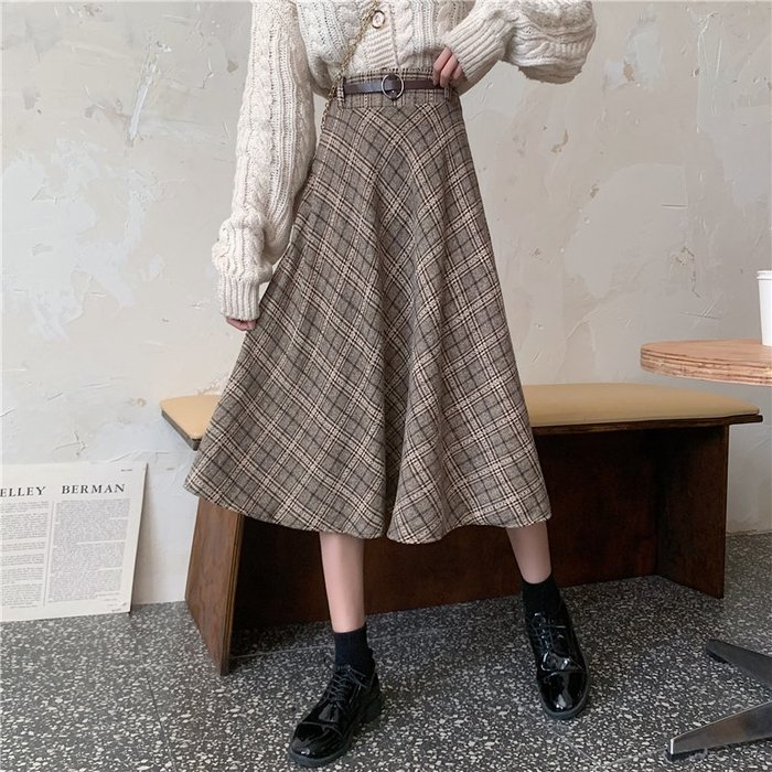 Maisobo 韓 秋冬 浪漫配腰帶格紋中長裙 2色 TO2-1001 預購