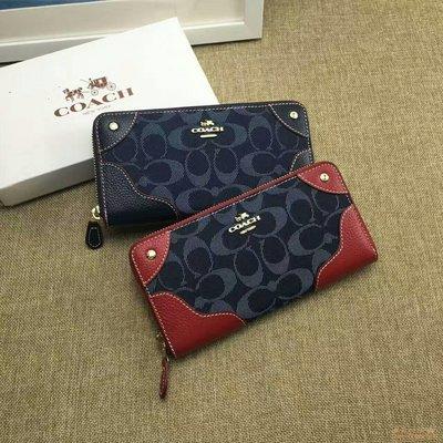 紐約女王代購 COACH 53769 女款長夾 帆布配皮革手拿包 C紋 多卡位錢包 鉚釘設計手拿包 可分3期