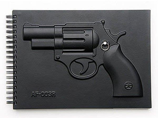 繪本 筆記本 (黑4筆記本-左輪手槍空白筆記本) 與眾不同耍酷必備 I-HOME愛雜貨
