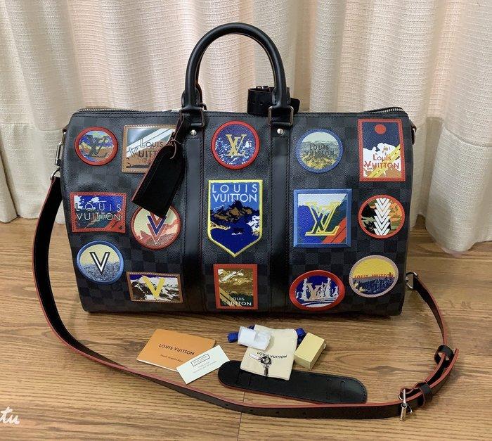 小巴黎二手名牌 LV  旅行袋 45CM 限量商品 棋盤格 徽章款 未使用