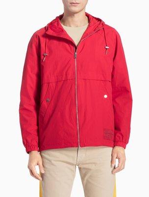 CALVIN KLEIN JEANS 連帽 拉鍊 外套 CK 紅色 新款 潮流 亞洲版型 亮面 金屬 XL 都會氣息