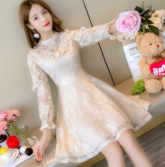 莎芭 洋裝 韓版修身超仙長袖連身裙 加絨內搭打底裙 小禮服