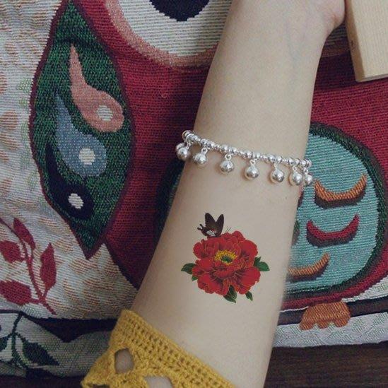 【萌古屋】花朵蝴蝶單圖334 - 男女防水韓風簡約紋身貼紙刺青貼紙K13