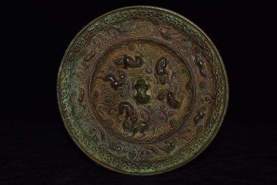 細工銅製  海獸葡萄鏡  瑞獸  風水鎮宅  古銅鏡