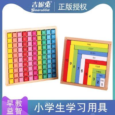 可樂屋 吉妮兔木制乘法運算盒小學生加減乘除算術棒中英文對照早教數數棒