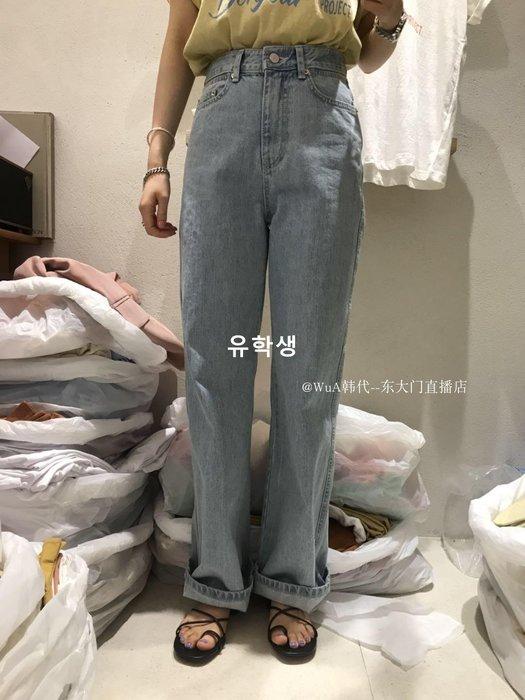 유학생 THE ABLE 2019春季 WUA韓國東大門代購 高腰做舊長款顯瘦牛仔褲