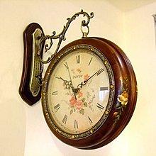 142華城小鋪**創意 靜音/造型 時鐘 掛鐘 雙面鐘 實木掛鐘 田園 手繪實木雙面鐘