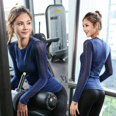 運動上衣 女網眼鏤空彈力透氣健身瑜伽長袖健身上衣 瑜伽上衣 運動服 舞蹈服 健身服 瑜伽服 運動T恤 緊身服 緊身衣