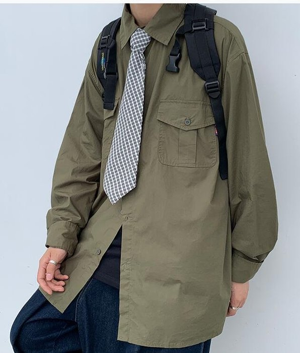 FINDSENSE X  男士 長袖  休閒 寬松日系純色工裝長袖襯 襯衣