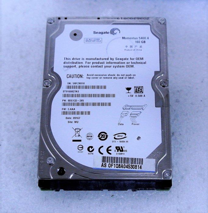~ 駿朋電腦 ~ 2.5吋 Seagate希捷 160G SATA介面 筆電硬碟 測試正常 $200