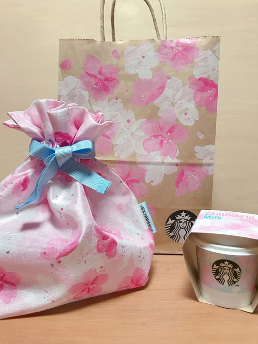 Ariels Wish日本STARBUCKS星巴克櫻花杯tiffany藍緞帶微珠光粉紅色束口袋收納袋旅行袋化妝包-絕版品