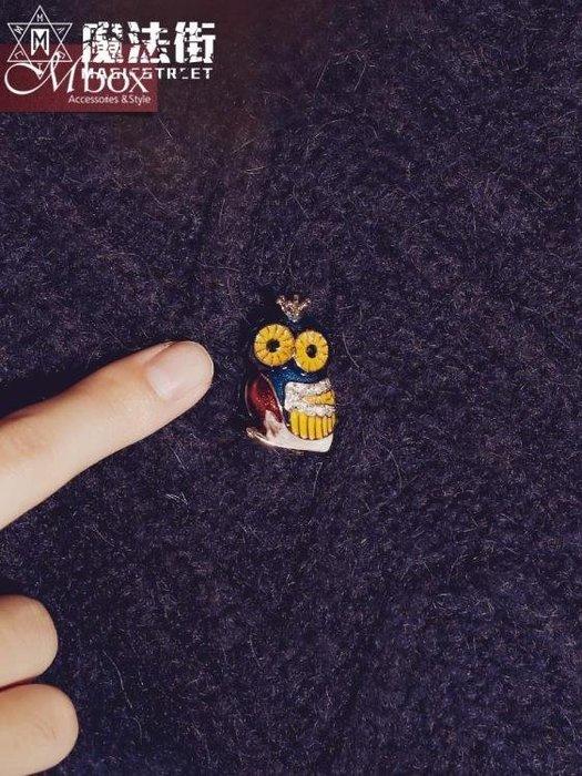 貓頭鷹胸針女配飾裝飾開衫可愛胸花卡通簡約飾品毛衣小別針扣