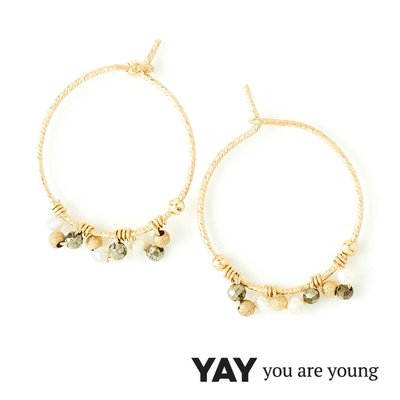 YAY You Are Young 法國品牌 Frida 寶石花束 經典圓耳環 白珍珠X星辰豆豆