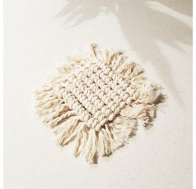 手工棉繩白色正方形編織杯墊 (小)
