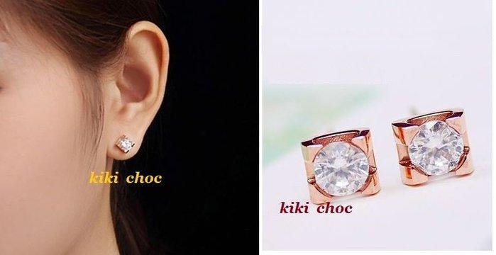 ♥ kiki choc ♥ 經典百搭*鈦鋼材質* 單鑽方型簡約耳環 玫瑰金/金/銀3色選擇