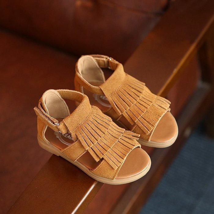 零碼 夏季新款韓版兒童凉鞋女童真皮磨砂三層流蘇童鞋鞋子