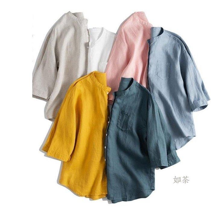 【如茶】簡約立領水洗寬鬆亞麻襯衫