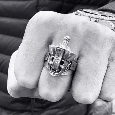 泰銀創意大將軍至上骷髏頭僵尸戒指 s925純銀飾品男士開口指環