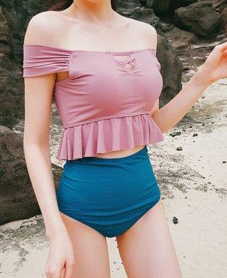 Qmi 韓國網紅款一字領荷葉邊高腰遮肚顯瘦兩件套泳衣