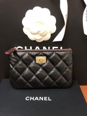 全新現貨 Chanel 一字拉鍊零錢包 黑色金釦 Reissue 2.55 保卡26