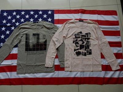全新日本品牌 RAGEBLUE 相片T恤 拼貼風 粉紅 軍綠 S號 薄長T