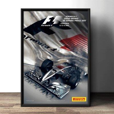 現代裝飾畫F1汽車方程式賽程海報定做宣傳海報本田法拉利帶框畫