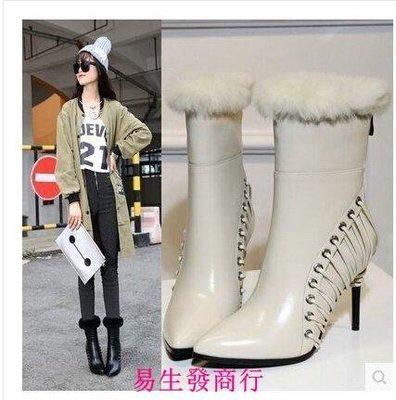 【易生發商行】秋冬歐美風毛毛靴中筒靴 超高跟細跟後拉鏈真皮騎士靴 女鞋F6247