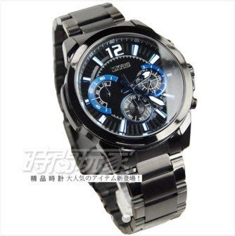 《澤米》SKMEI真三眼潮流個性時尚腕錶 日期視窗 防水手錶 IP黑大錶(全館二件免運)
