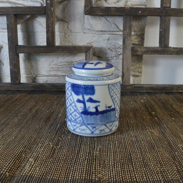 百寶軒 仿古瓷器復古清康熙風格手繪青花人物紋蓋罐茶葉罐古董古玩 ZK1065