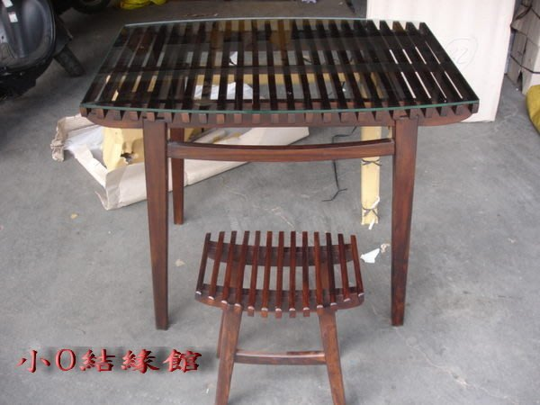 小o結緣館仿古傢俱..........琴桌椅排骨桌椅造型餐桌椅一桌四椅(雞翅木)