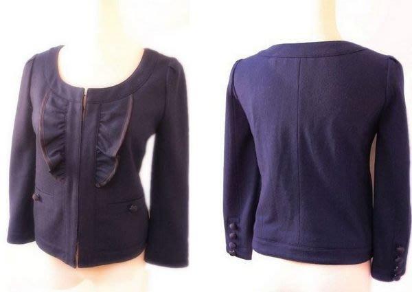 *Beauty*日本品牌JILLSTUART深藍色荷葉領毛料外套 YU