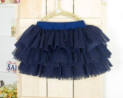 【DJ媽咪玩具日本流行精品】台灣製造 女童純棉 蛋糕裙 蓬蓬裙 紗裙 短裙 造型短裙 寶藍色