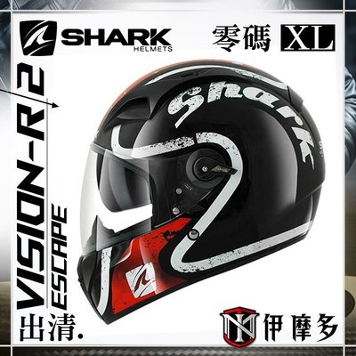伊摩多※零碼出清XL 法國 SHARK VISION-R 全罩安全帽 內墨片 快拆鏡片 ESCAPADE 黑紅白 KRW