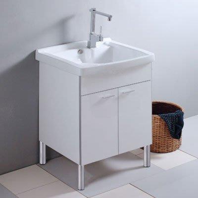 《101衛浴精品》100%全防水 一體成型陶瓷洗衣槽浴櫃組 60CM【免運】